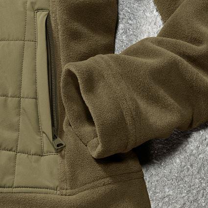 Work Jackets: Hybrid fleece hoody e.s.concrete, ladies' + mudgreen/stipagreen 2