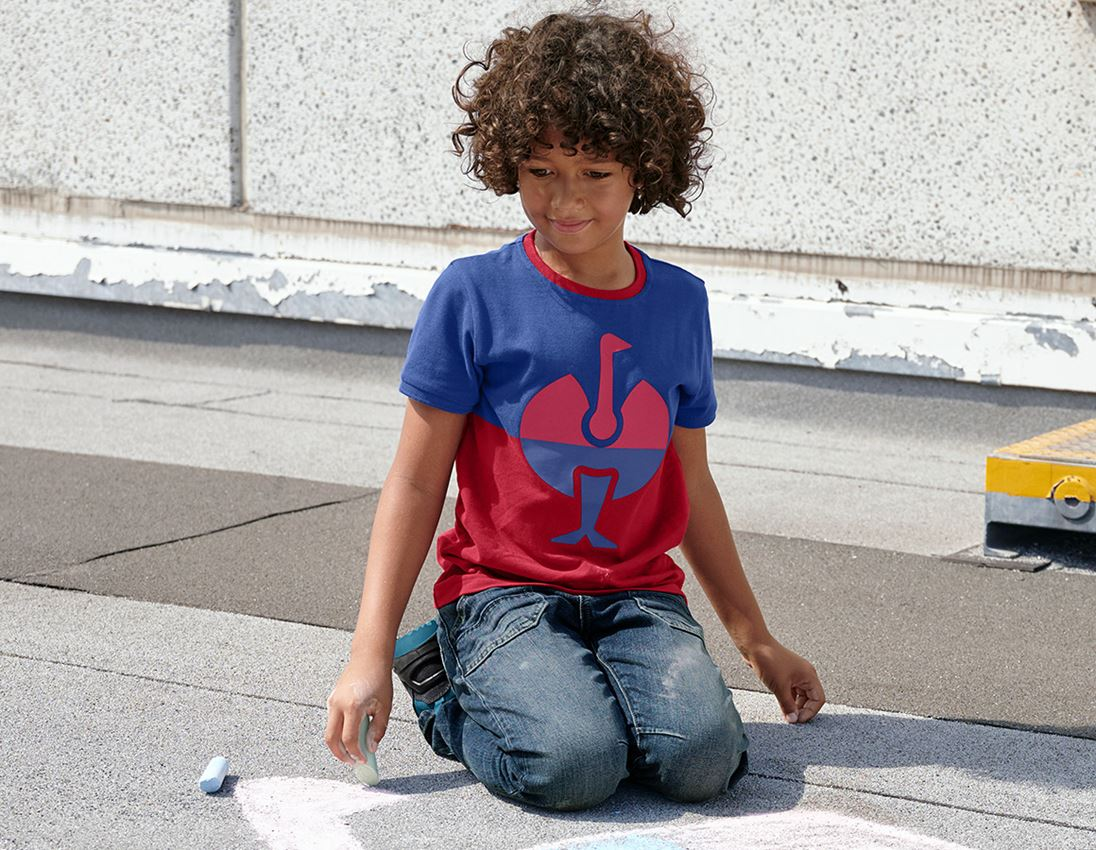Shirts, Pullover & more: e.s. Pique-Shirt colourblock, children's + royal/fiery red