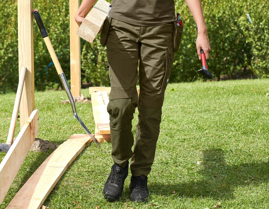 Work Trousers: Trousers e.s.concrete solid, ladies' + mudgreen