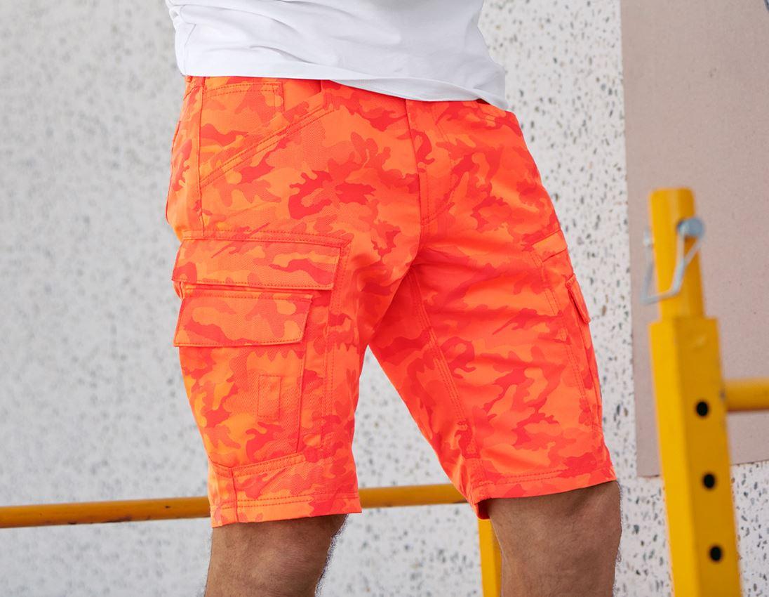 Arbejdsbukser: e.s. shorts color camo + camouflage rød