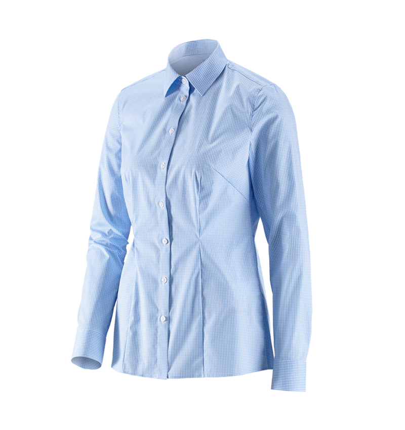 Shirts, Pullover & more: e.s. Business blouse cotton str. lad. regular fit + frostblue checked