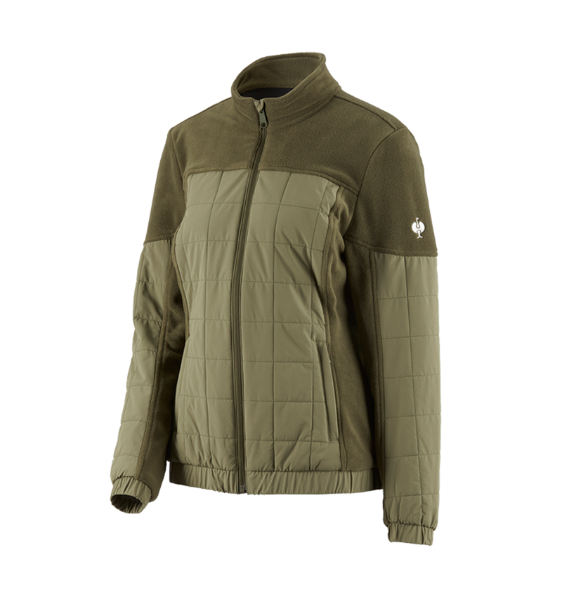 Work Jackets: Hybrid fleece jacket e.s.concrete, ladies' + mudgreen/stipagreen