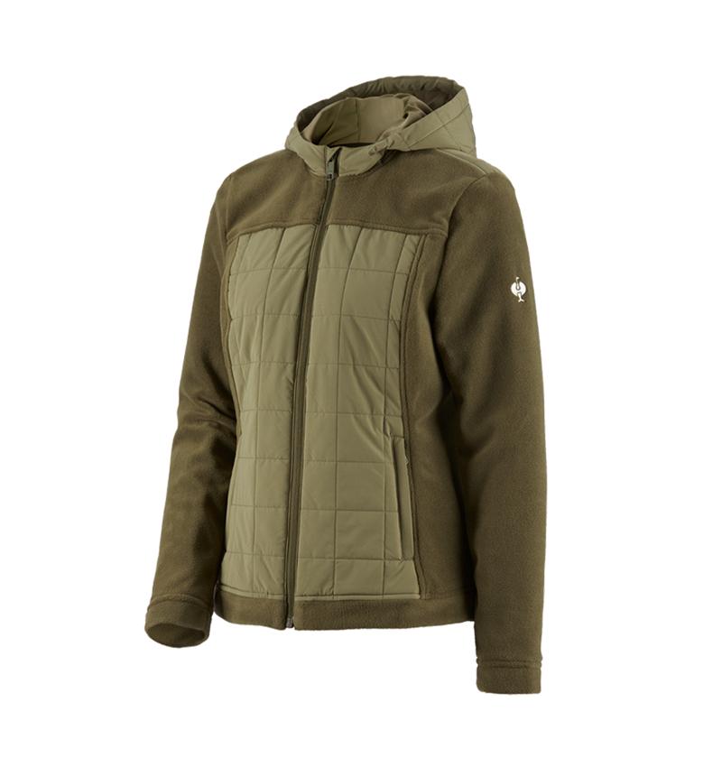 Work Jackets: Hybrid fleece hoody e.s.concrete, ladies' + mudgreen/stipagreen