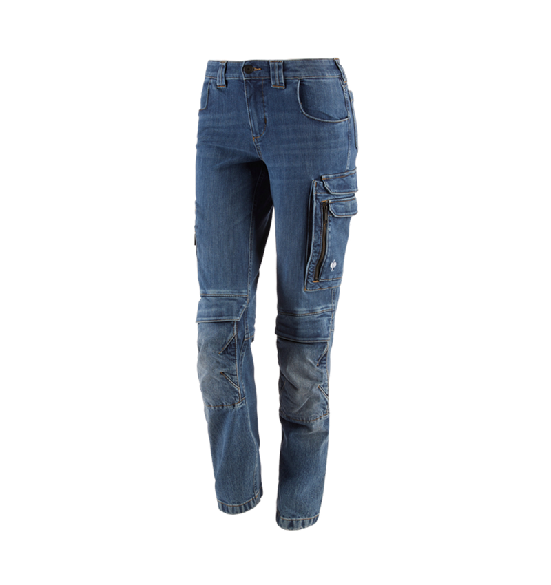 Work Trousers: Cargo worker jeans e.s.concrete, ladies' + stonewashed