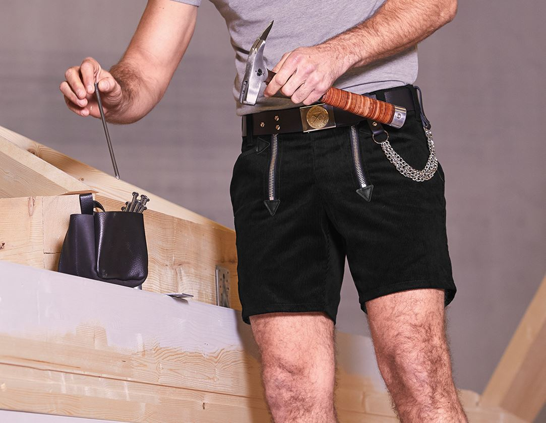 Work Trousers: e.s. Craftman's Shorts Wide Wale Cord + black