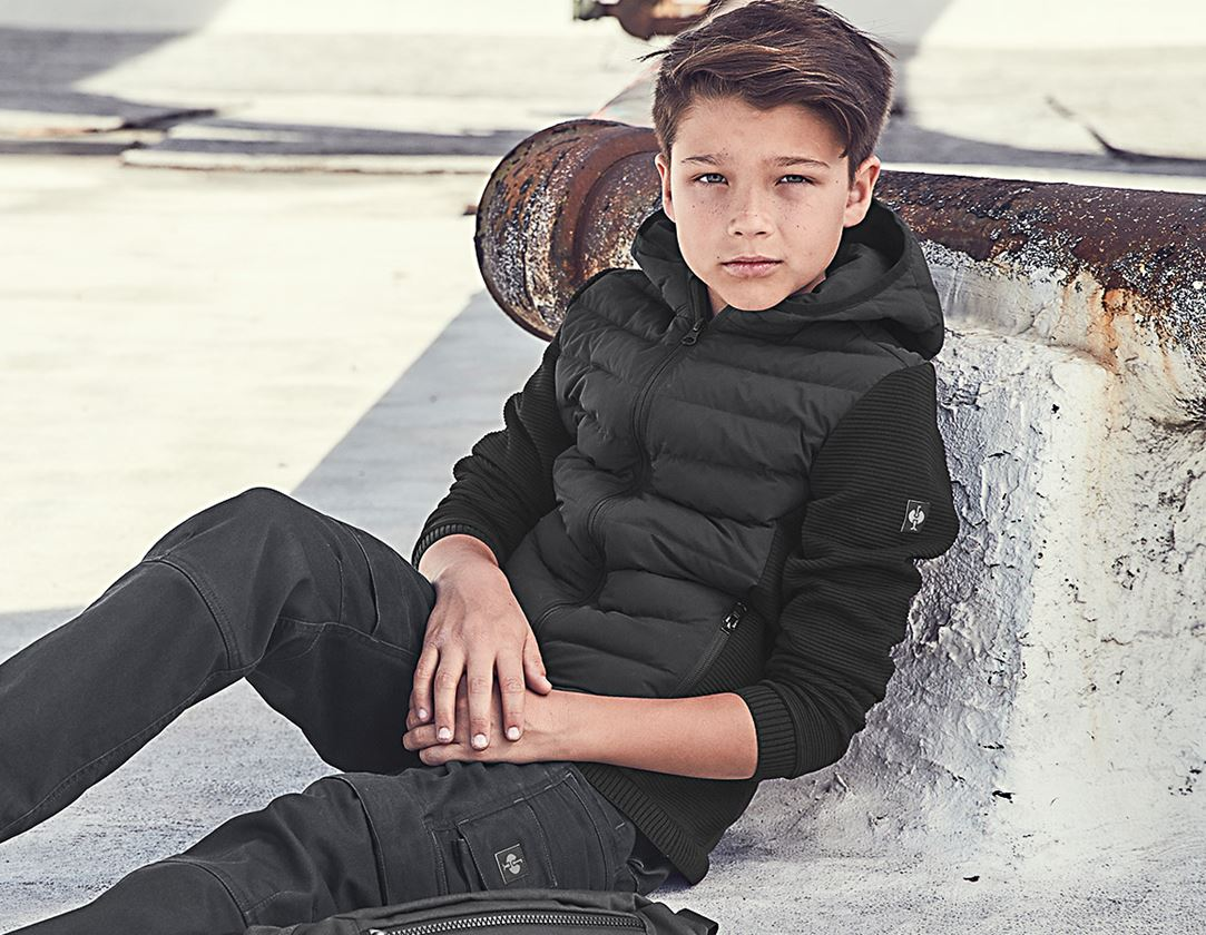 Jackets: Hybridhooded knitted jackete.s.motion ten,child. + black