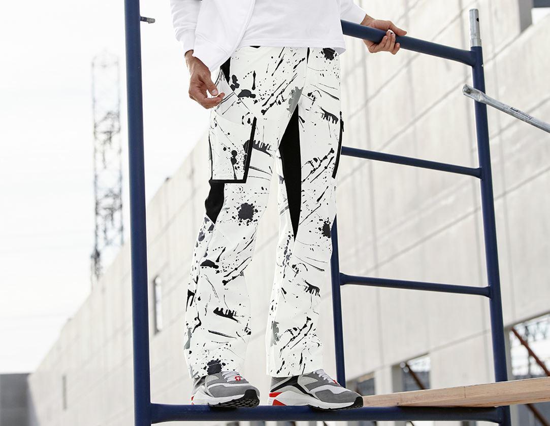 Arbejdsbukser: e.s. stretch cargobukser Painter + hvid/sort