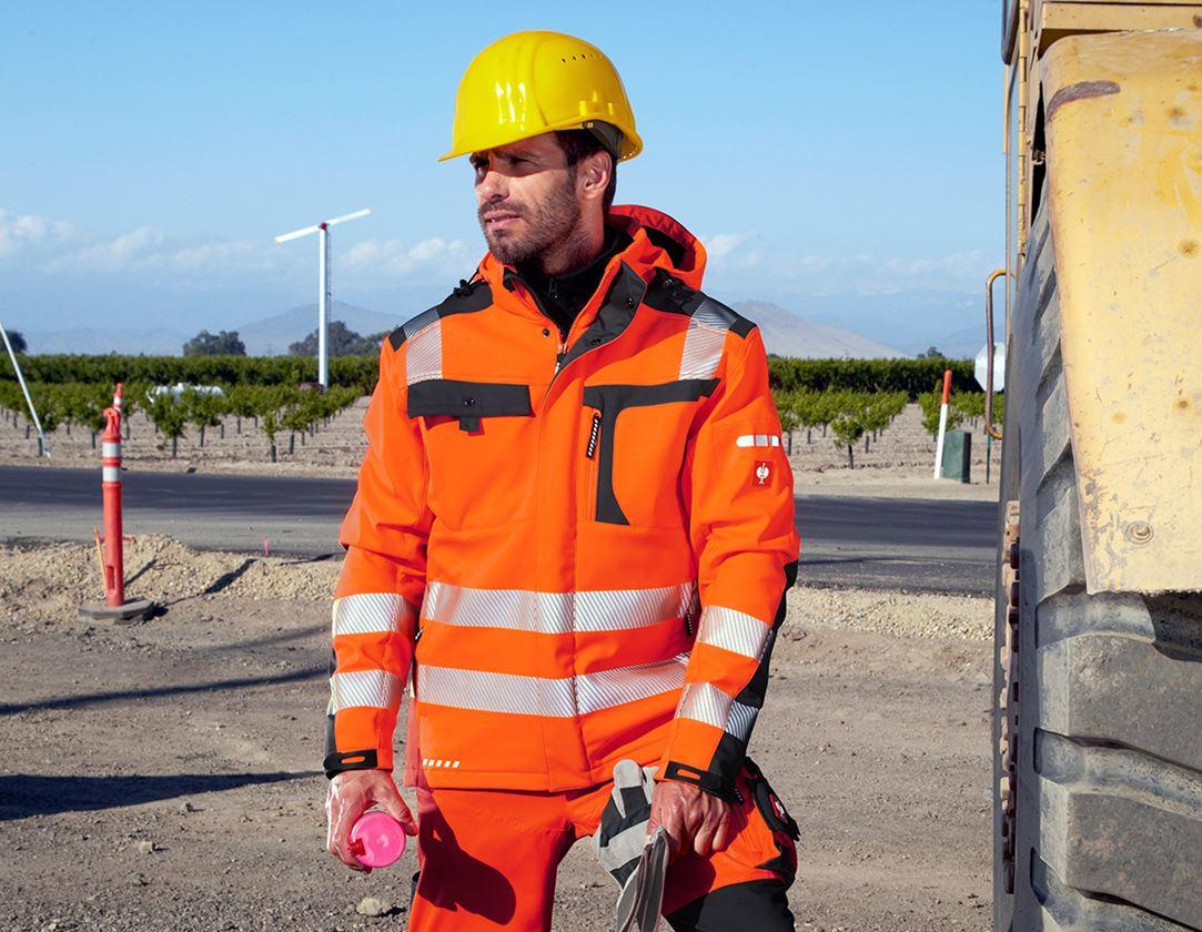 Work Jackets: High-vis softshell jacket e.s.motion + high-vis orange/anthracite