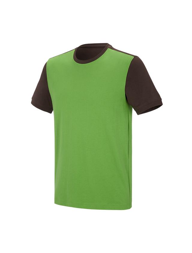Shirts, Pullover & more: e.s. T-shirt cotton stretch bicolor + seagreen/chestnut
