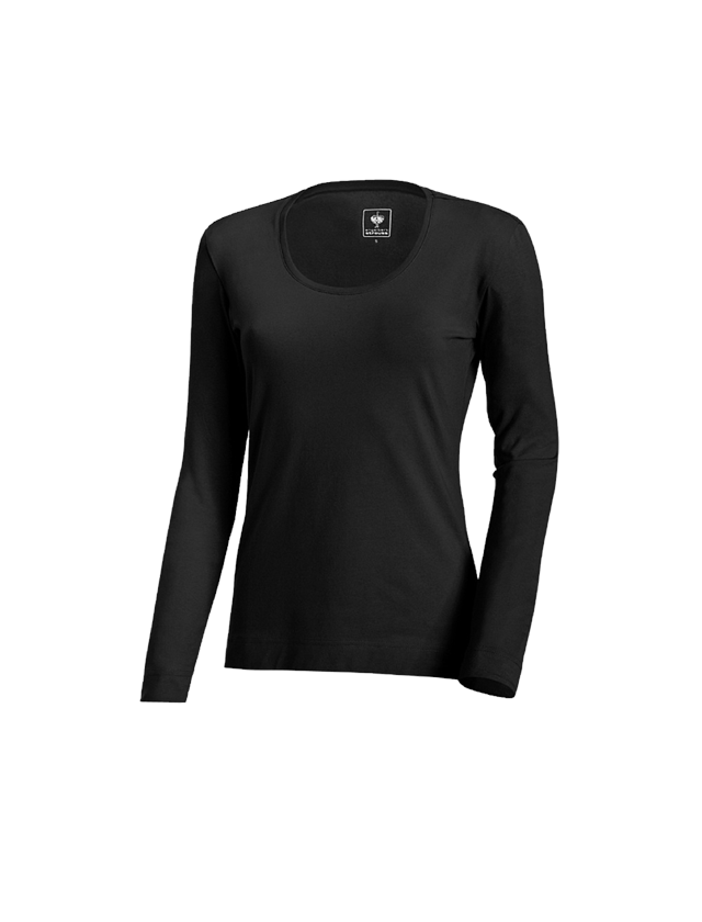 Shirts, Pullover & more: e.s. Long sleeve cotton stretch, ladies' + black