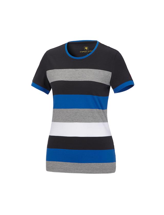 Shirts, Pullover & more: e.s. Pique-Shirt  cotton stripe, ladies' + graphite/gentian blue