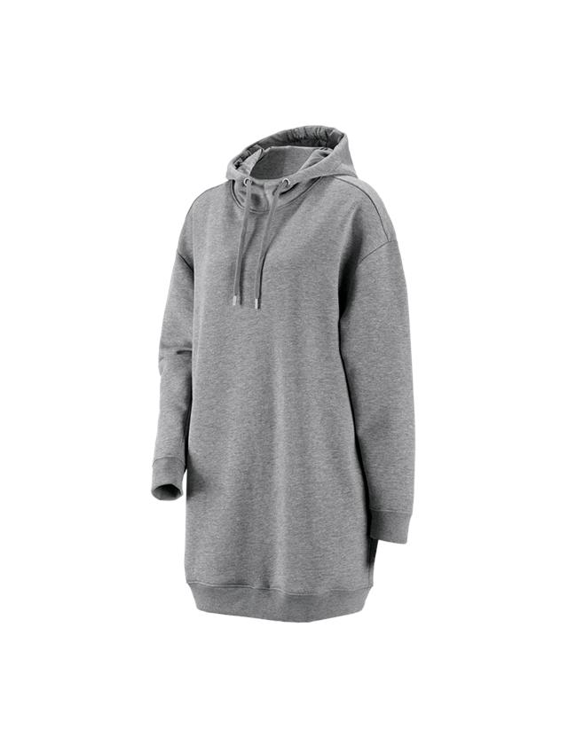 Shirts, Pullover & more: e.s. Oversize hoody sweatshirt poly cotton, ladies + grey melange