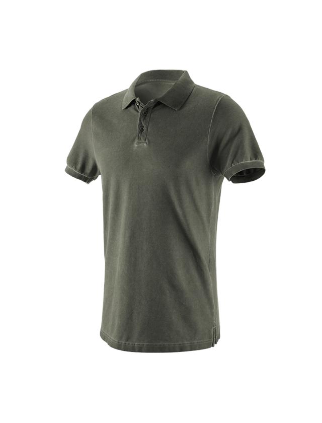 T-Shirts, Pullover & Skjorter: e.s. Polo-Shirt vintage cotton stretch + camouflagegrøn vintage