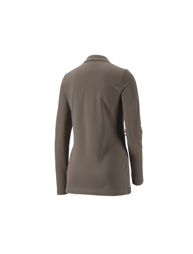 Shirts, Pullover & more: e.s. Pique-Polo longsleeve cotton stretch,ladies' + stone 1