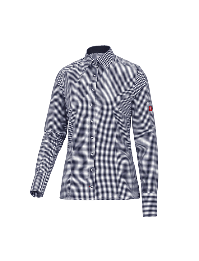 Shirts, Pullover & more: e.s. Work blouse advanced, ladies' + navy/white checked
