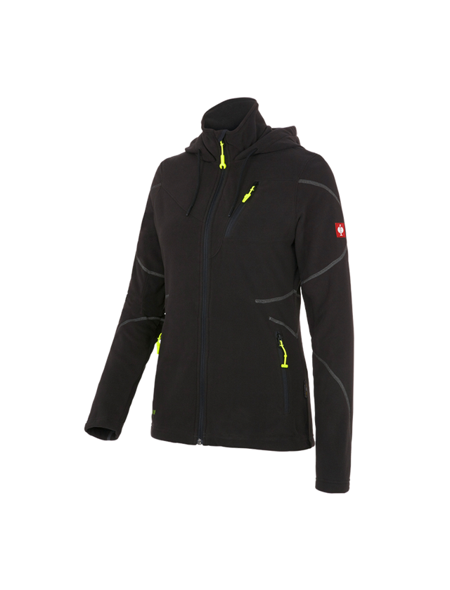 Work Jackets: Hooded fleece jacket e.s. motion 2020, ladies' + black