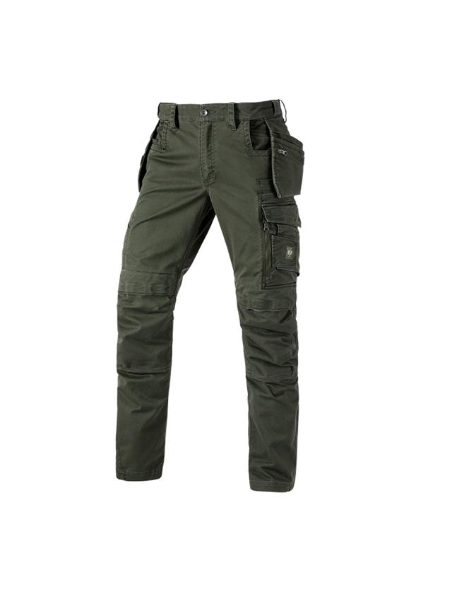 Arbejdsbukser: Bukser e.s.motion ten tool-pouch + camouflagegrøn