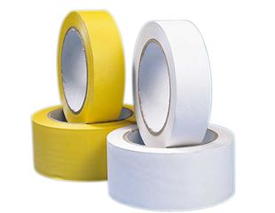 Plastic adhesive tape, yellow and white