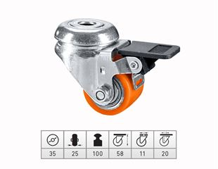 Comp. heavy-duty rollers with rear hole + brake
