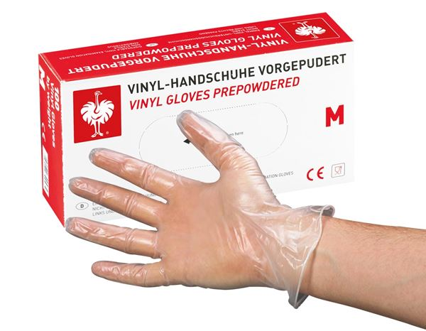 Disposable Gloves: Disposable vinyl latex gloves, lightly powdered