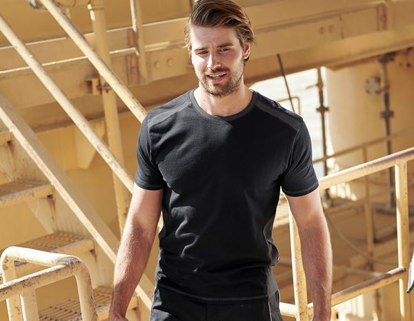 T-Shirts: T-shirt cotton e.s.active + black/anthracite