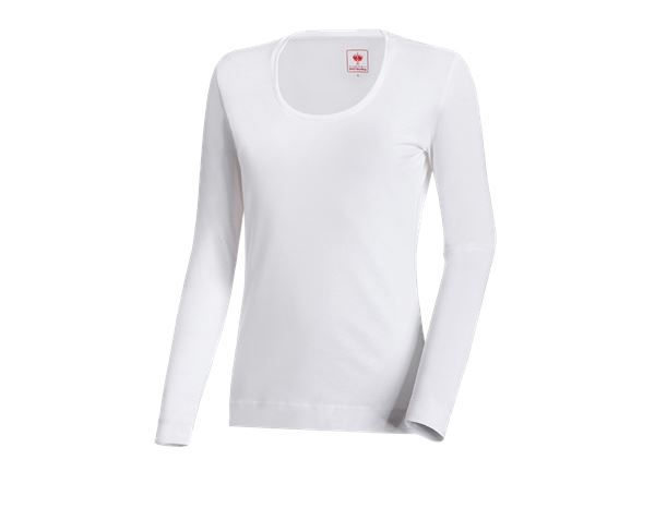 T-Shirts, Pullover & Skjorter: e.s. Longsleeve cotton stretch, damer + hvid