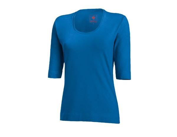 e.s. Shirt 34 ærmer cotton stretch, damer ensianblå