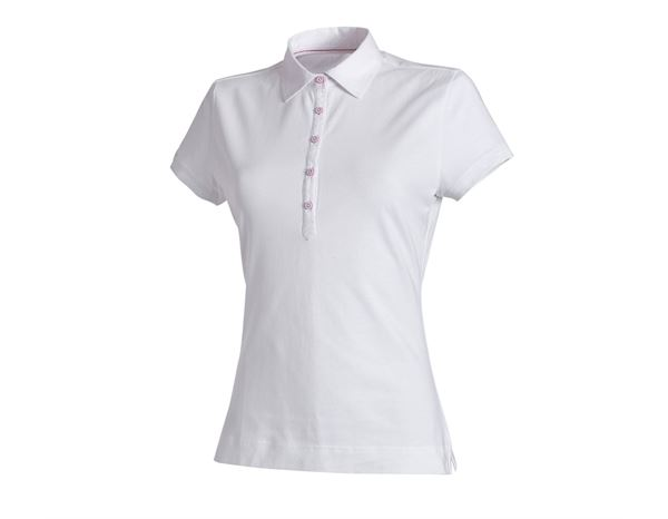 T-Shirts, Pullover & Skjorter: e.s. Polo-Shirt cotton stretch, damer + hvid