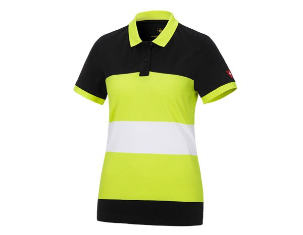 Shirts, Pullover & more: e.s. Pique-Polo cotton stripe, ladies' + black/high-vis yellow