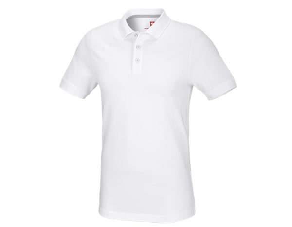 T-Shirts, Pullover & Skjorter: e.s. Pique-Polo cotton stretch, slim fit + hvid