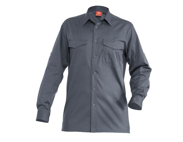 Shirts: Work shirt e.s.classic, long sleeve + grey