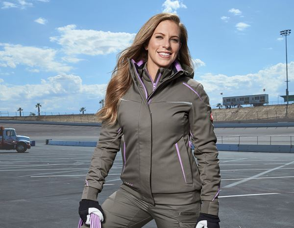 Work Jackets / Body Warmer: Winter softshell jacket e.s.motion 2020, ladies' + stone/lavender