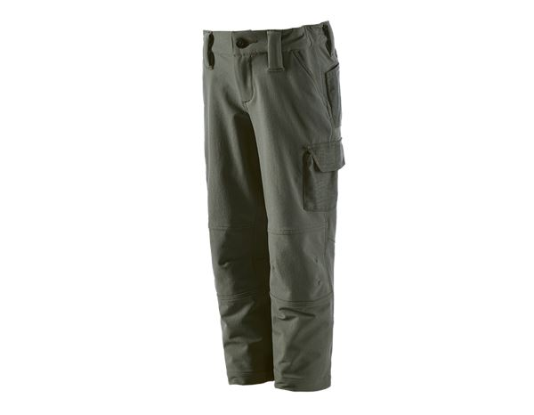 Trousers / Shorts: Funct.cargo trousers e.s.dynashield solid,child. + thyme