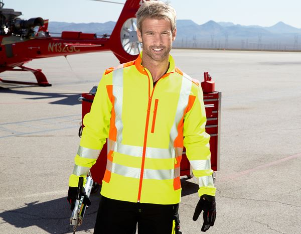 Work Jackets: High-vis softshell jacket softl. e.s.motion 2020 + high-vis yellow/high-vis orange
