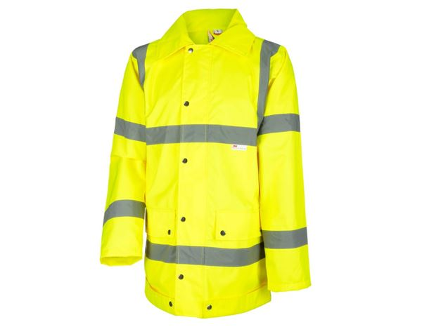 Work Jackets: STONEKIT High-vis rain jacket + high-vis yellow