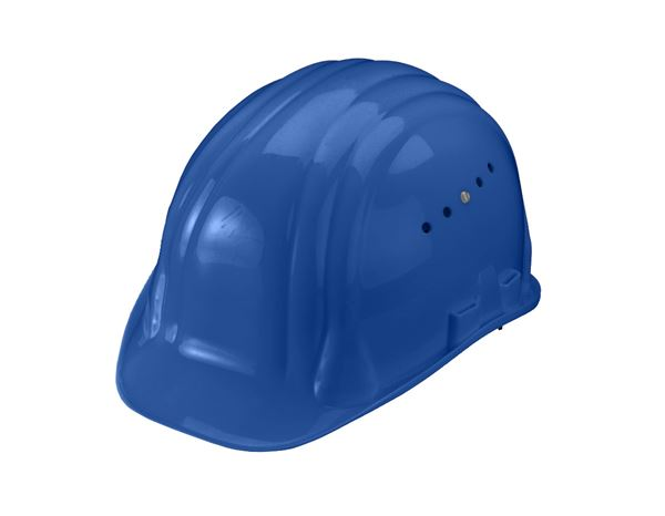Hard Hats: Safety helmet Baumeister, 6-point, rotary fastener + blue