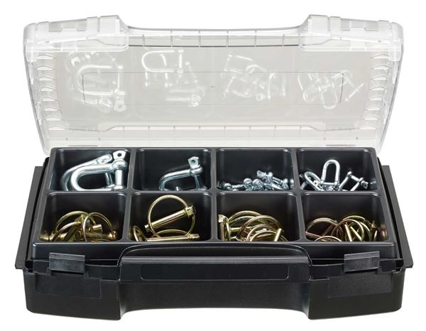 System boxes: Lynch pin and shackle, 50 pieces